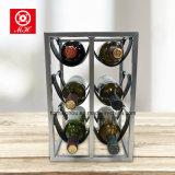 Cremalheira de couro creativa do vinho com a prateleira de indicador da parte do metal