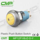 青いヘッドが付いている点によって照らされる押しボタンスイッチ