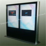 Двойник встал на сторону LCD рекламируя игрока, разрешения киоска разрешения Signage цифров