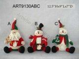 """12.5 """" H reposant Santa et bonhomme de neige, décoration d'Asst-Noël 2"""