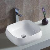 浴室の上の取付けられた単一のコックの穴の陶磁器の薄い端の洗面器