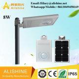 8W tutto in un indicatore luminoso solare esterno della via LED con il sensore di movimento