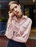 ばね水ピンクの長い袖の平野の女性ワイシャツ