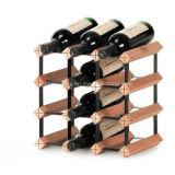 Cremalheira de indicador do vinho vermelho do armazenamento da madeira de metal de 12 frascos
