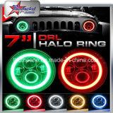 "Fábrica directa! ! DOT SAE E-MARK 7 ""Faro de LED RGB Halo Anillos Angel Eyes Faros Blueooth Control Smartphone APP para Jeep Wrangler Jk / Fj / Cj"