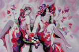 Искусствоо стены картины маслом девушки впечатления цветастой покрашенное рукой самомоднейшее