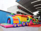 Curso de obstáculo inflable de la gorila comercial del tren para al aire libre