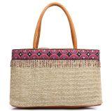 عادة تبن حقيبة حمل طبيعيّ كتف شاطئ حقيبة لأنّ نساء