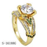 anillo plateado oro de la plata de la joyería 14k
