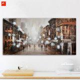 キャンバスの抽象的な都市通りの景色の油絵