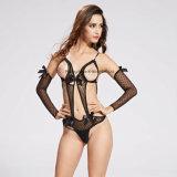 Les dames ouvrent le bikini érotique de Fishnet de lingerie de cuvette avec la chemise