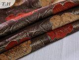 Flores rojas y amarillas en Thin Jacquard Sofá de la tela