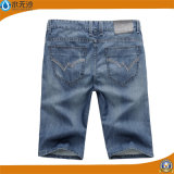 Calças de brim azuis da sarja de Nimes das calças de brim magros da forma do algodão dos homens do OEM