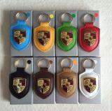 Catena chiave di coloritura placcata del cuoio genuino per l'automobile della Porsche