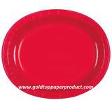 Placas de papel ovais do partido descartável do tema dos utensílios de mesa