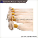 Pelo natural Weft rubio del pelo humano