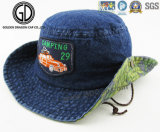 Cowboy Style Denim Rope Bucket Hat com crachá de bordado personalizado