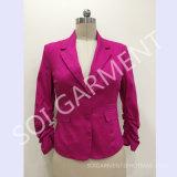 Satin de coton de femme occasionnel et blazer de bureau avec 2 boutons (BLA-14)