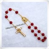 Braccialetto del rosario del branello della Rosa della resina del rosario/rosario cattolici (IO-CB127)