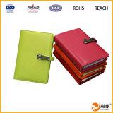 Caixa de couro do caderno do plutônio com projeto personalizado