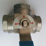vávula de bola de tres vías del acero de molde 1000psi para el agua