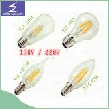 Lámpara de filamento de cristal de E27 E14 B22 LED
