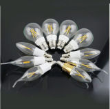 E14 lámpara de filamento de cristal de la vela LED