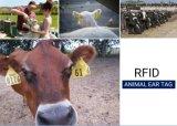Tag de orelha animais personalizados dos rebanhos animais RFID que seguem o código de barras da freqüência ultraelevada de NFC