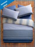 青い層及び縞は綿の羽毛布団カバーセットを印刷した
