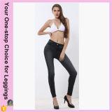 Os bolsos elevados da cintura do tamanho positivo personalizados imprimiram caneleiras sem emenda Stretchy das calças de brim