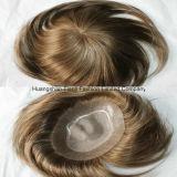 o cabelo 7A humano Mão-Amarrado classe personaliza o Toupee para o homem #2