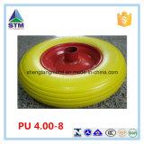 Rodas do Wheelbarrow do plutônio com a cor amarela usada no canteiro de obras