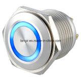 Commutateur de bouton poussoir électrique d'acier inoxydable de Ls16 16mm en métal momentané plat imperméable à l'eau de boucle