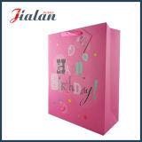Saco de papel impresso Cmyk lustroso da laminação do projeto cor-de-rosa do feriado da cor