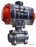 Válvula de esfera pneumática da flutuação da maneira do tipo três da linha