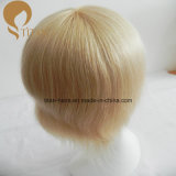 Toupee europeu do cabelo humano do Virgin da cor clara com laço francês