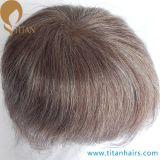 80%Brown20%White人間の毛髪の極度の薄い皮のToupee