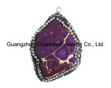 Pave Rhinestone를 가진 최신 Sale Freeform Imperial Jasper Precious Gemstone Pendants
