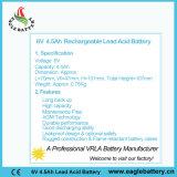 bateria recarregável acidificada ao chumbo selada VRLA de 6V 4.5ah para o alarme