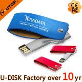 Выдвиженческий USB 8GB 16GB 32GB ключа металла раковины кожи шарнирного соединения подарка