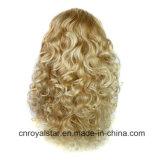 方法柔らかく長い巻き毛の金毛3/4の半分のヘッドかつら