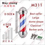 Peluquero giratorio plateado cromo poste de la muestra del salón del peluquero del precio de fábrica