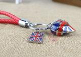 Catena chiave del regalo del riso del sindacato della bandierina britannica promozionale su ordinazione del Jack