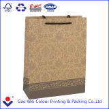 Bolsa de papel de encargo de Brown Kraft, bolsa de papel de Brown, bolso de compras de papel de lujo