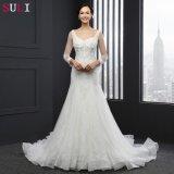 Longue robe de mariage de sirène de douille d'O-Cou (SL-035)