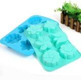 Moulage fabriqué à la main de savon de moulage de chocolat de pudding de gelée de silicones de fleur de 6 trous
