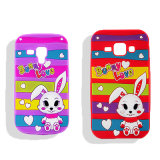 Caja colorida del teléfono del silicón del conejo del amor de la raya para el iPhone 5 6 (XSDW-014)