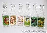 Glasflasche des wasser-1000ml mit Abziehbild-Dekoration