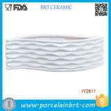 Moderner weißer keramischer Blatt-Form-Auslegung-Blumen-Behälter