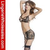 Jeu sexy de lingerie du cil des femmes de lacet d'entrecroisement de bandage de chemises de nuit en deux pièces de Chemise